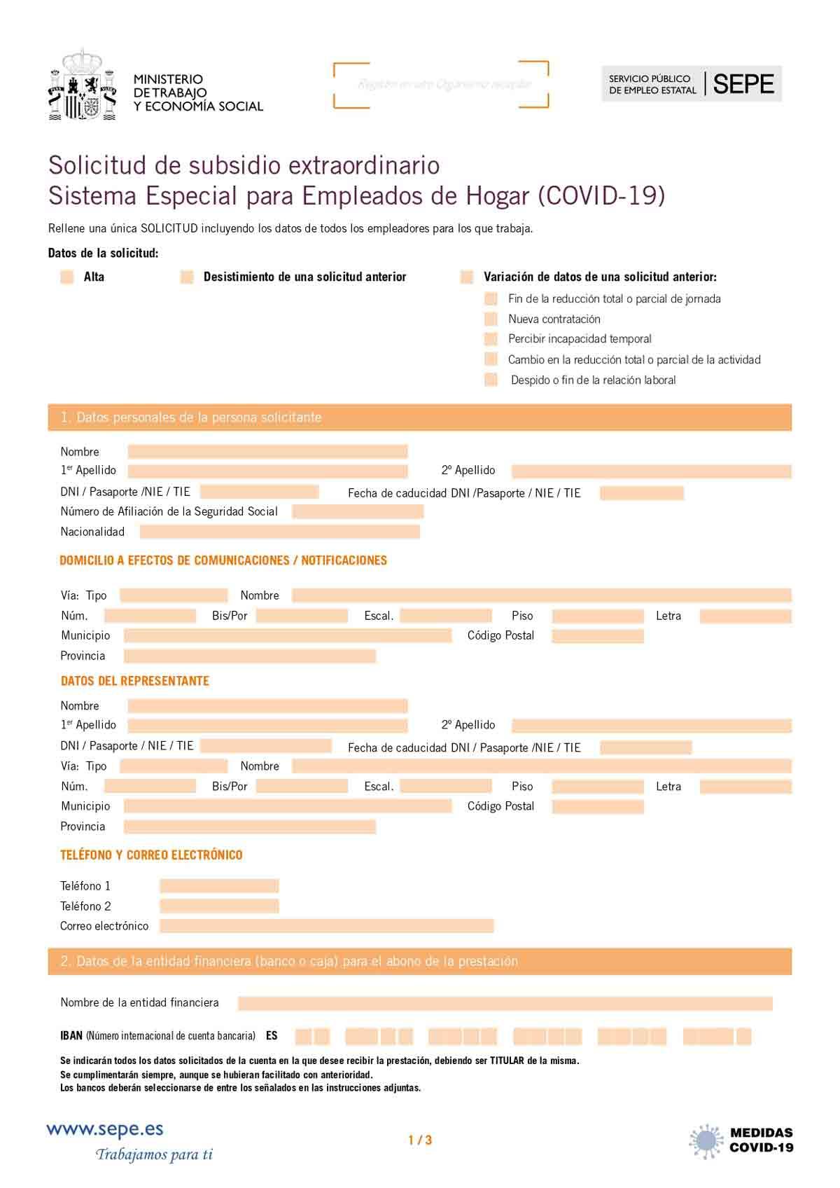 Modelo de solicitud subsidio página 1