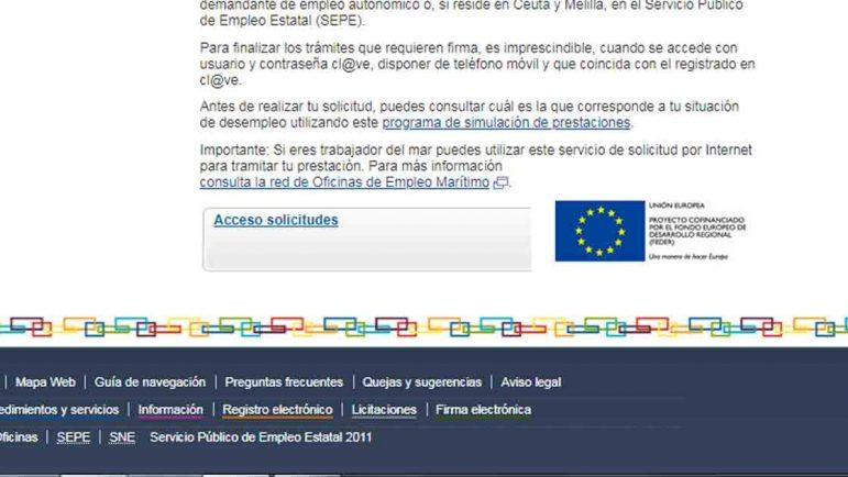 Botón acceso formulario online con certificado para pedir el paro