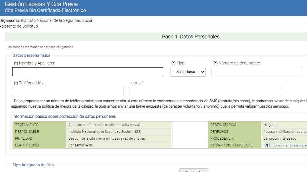 Introducir datos personales Seguridad Social