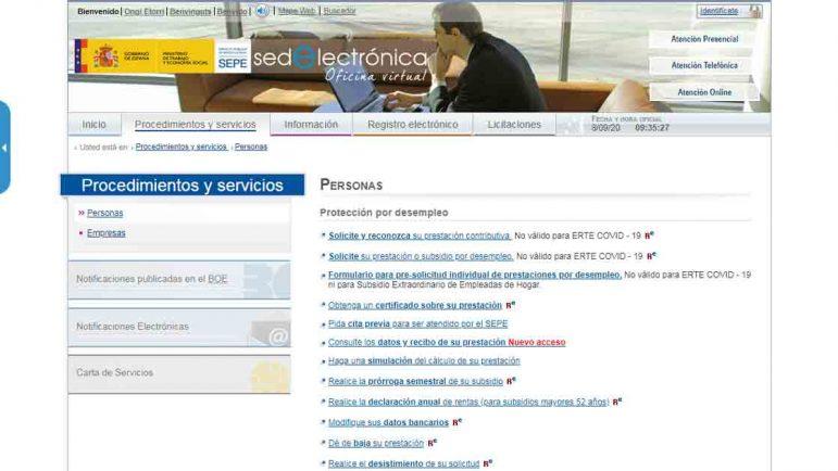 Tipos de prestaciones para solicitar online en el SEPE