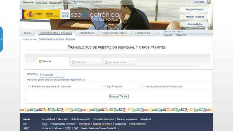 Acceso al formulario online para pedir el paro por Internet
