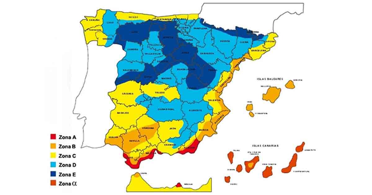 Mapa de las zonas climáticas de España
