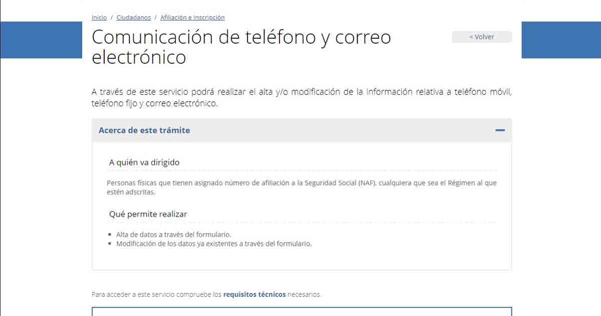 Obligación de dar el número de teléfono a la Seguridad Social para solicitar la vida laboral