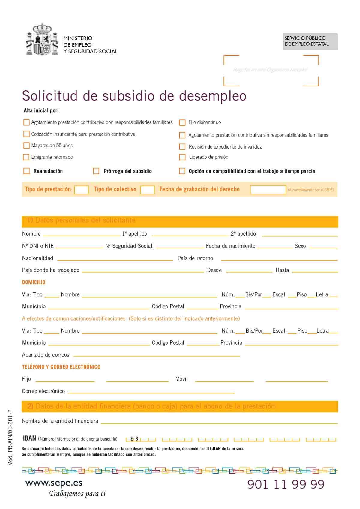 Solicitud subsidio por desempleo página 1