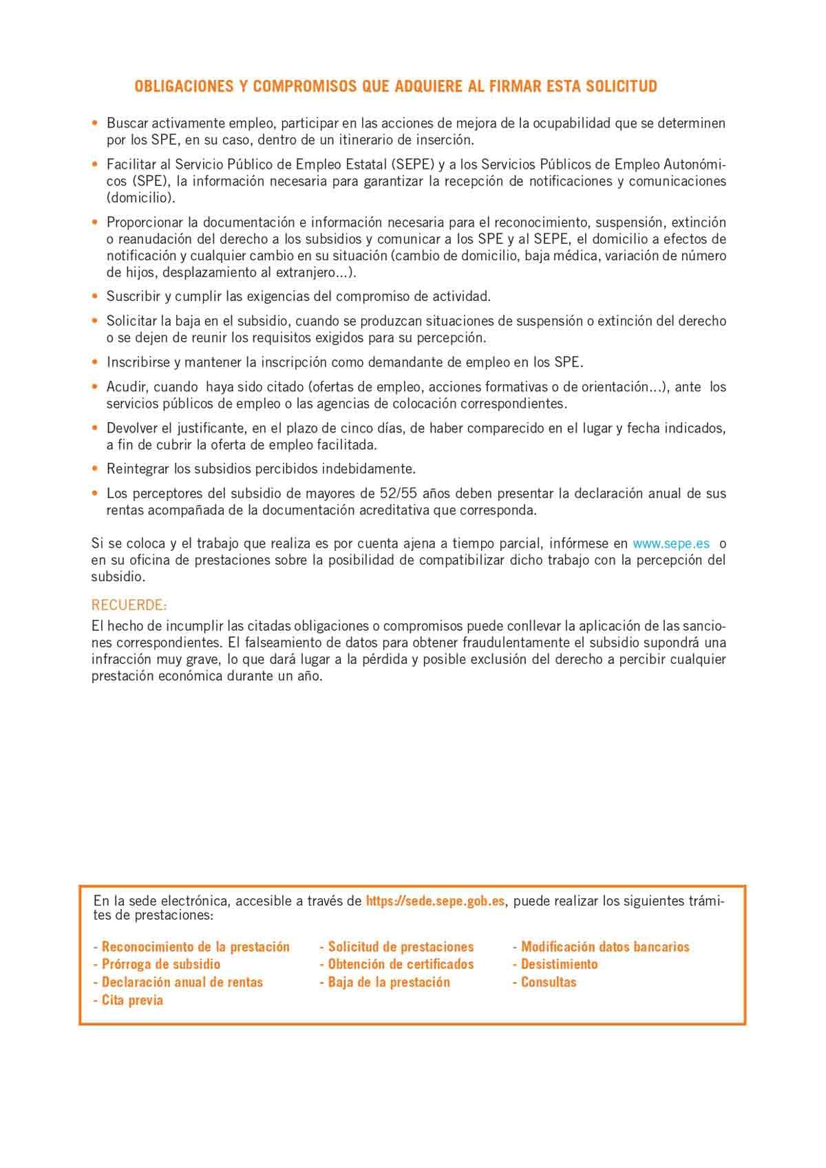 Solicitud subsidio por desempleo página 4