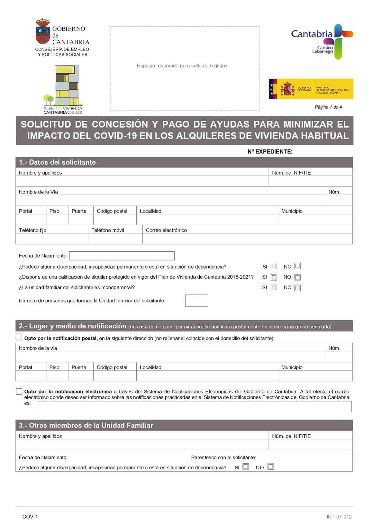 Solicitud ayudas alquiler Cantabria