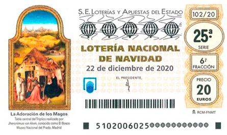 Décimo de lotería del Sorteo de Navidad 2020