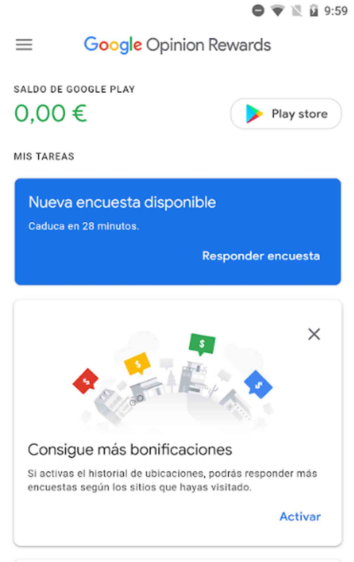 Nueva encuesta disponible en Google Opinion Rewards