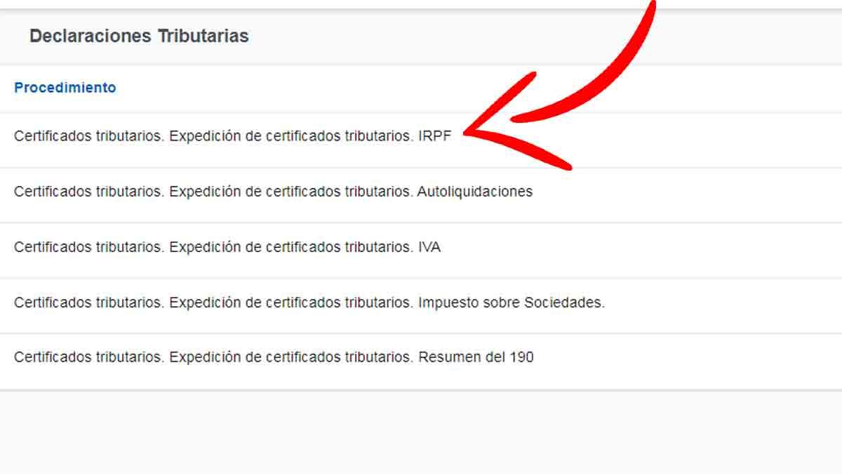 Certificado de retenciones del IRPF