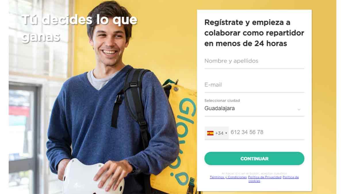 Portal de empleo para registrarse en Glovo