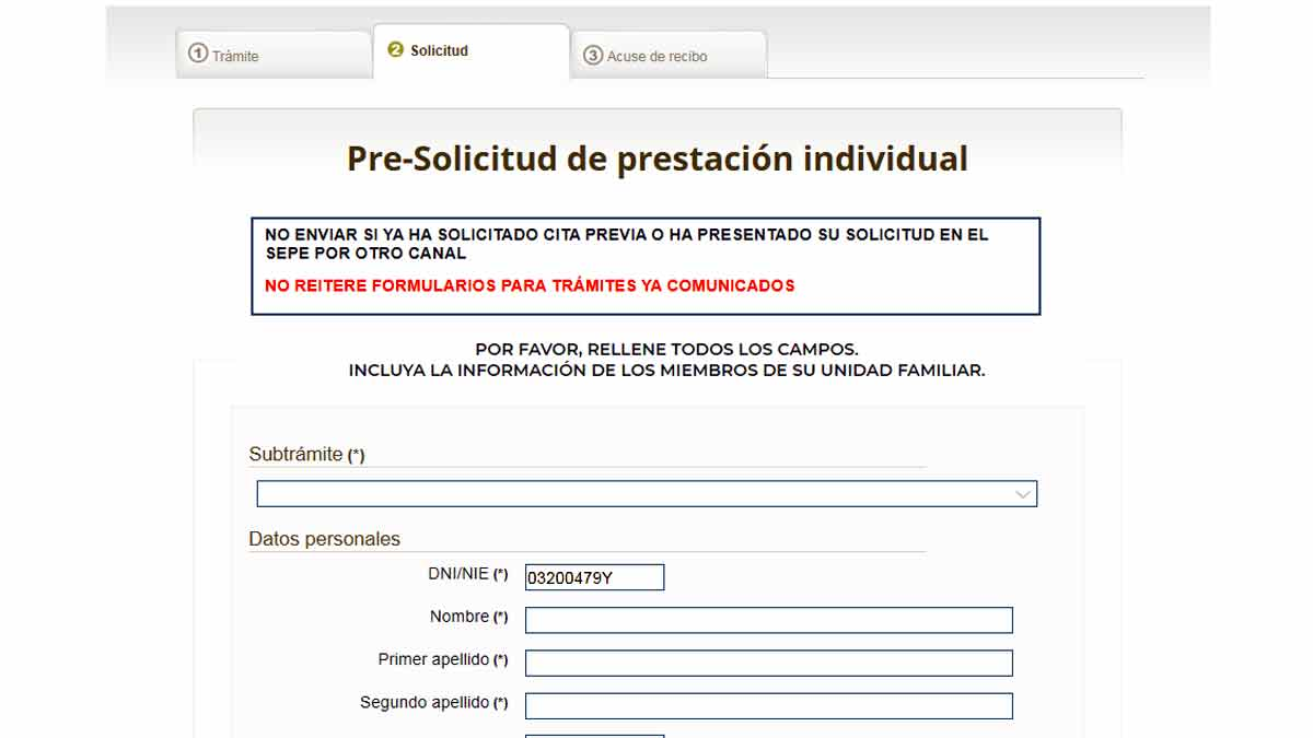 Rellenar formulario del SEPE