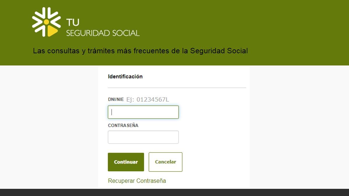 Acceso con clave al simulador de la Seguridad Social