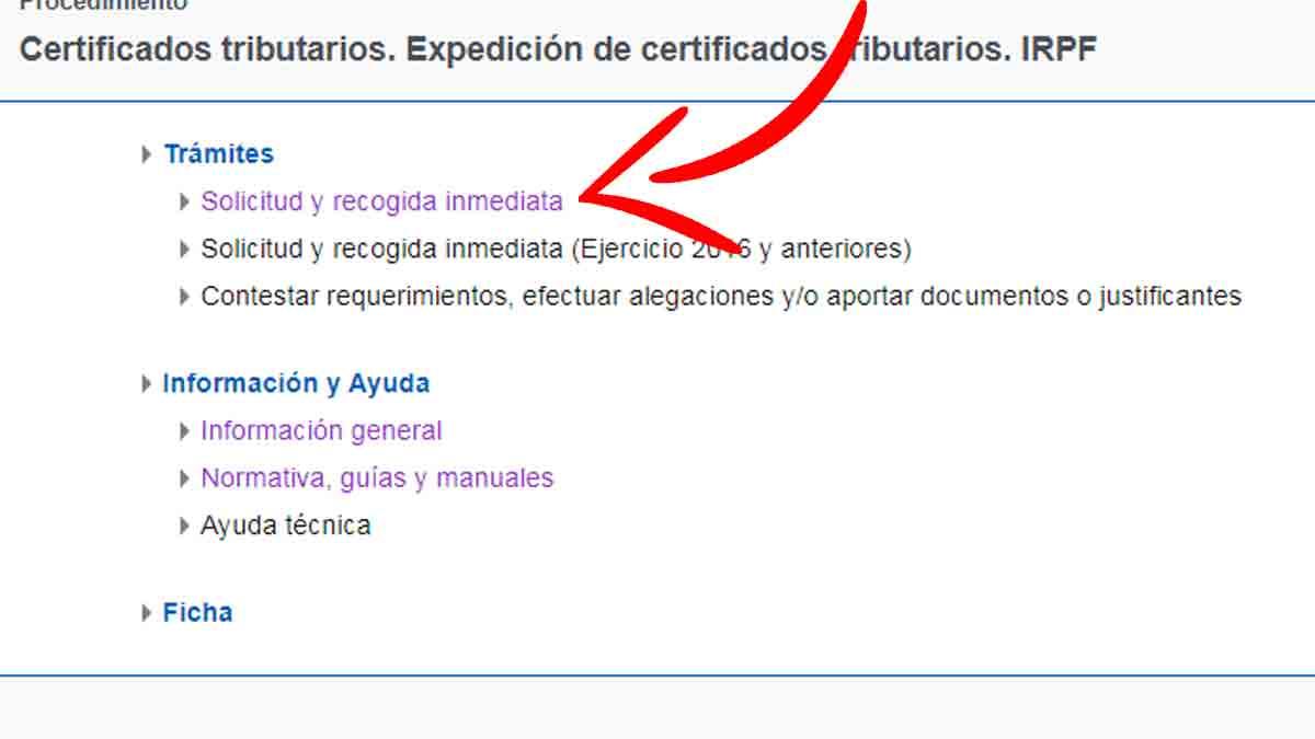 Solicitar el certificado de retenciones