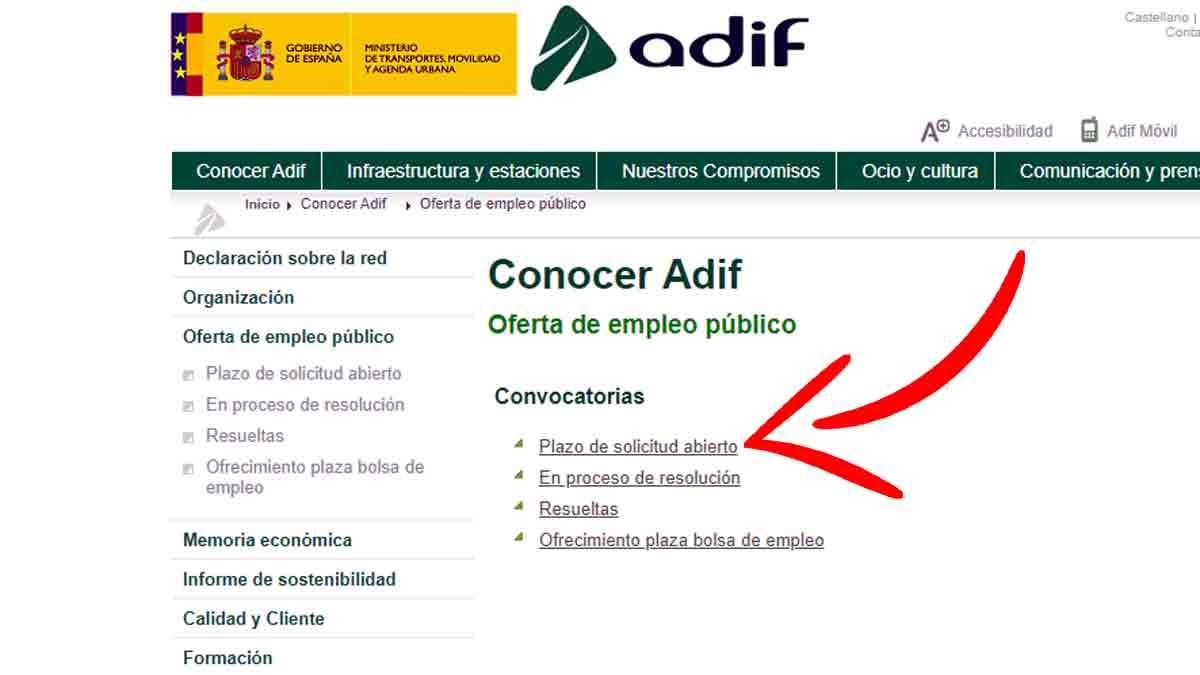 Convocatorias de plazo de solicitud abiertas en Adif