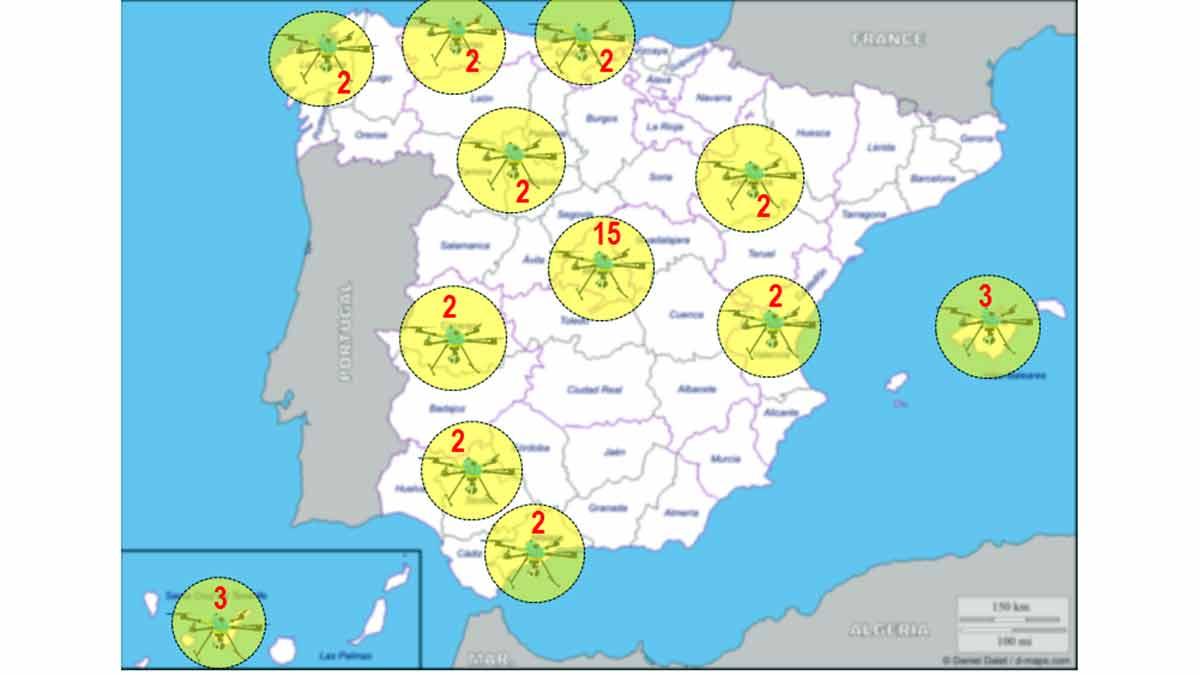 Mapa localización drones DGT