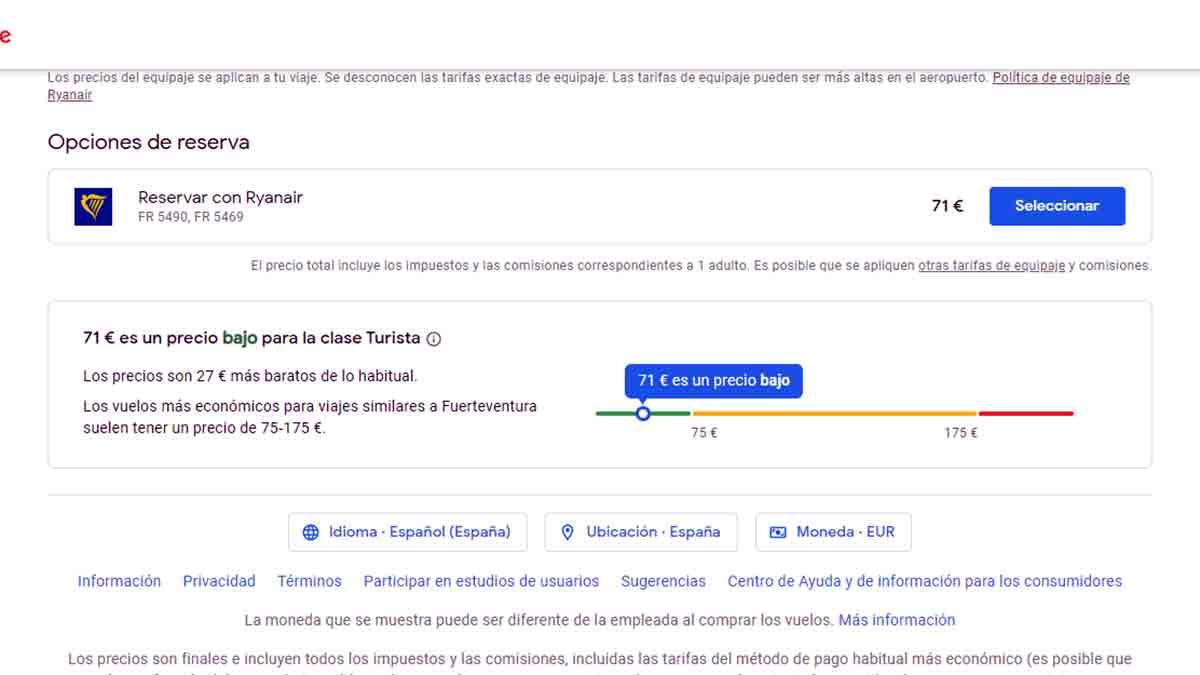 Precio medio vuelo en en Google Flights