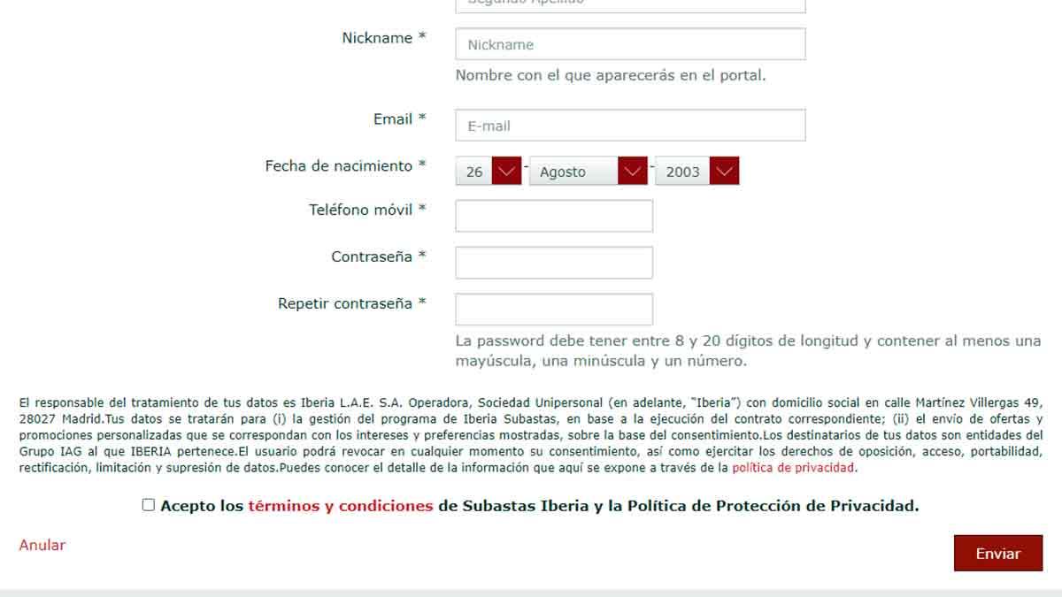 Introducir datos y contraseña en las subastas de Iberia
