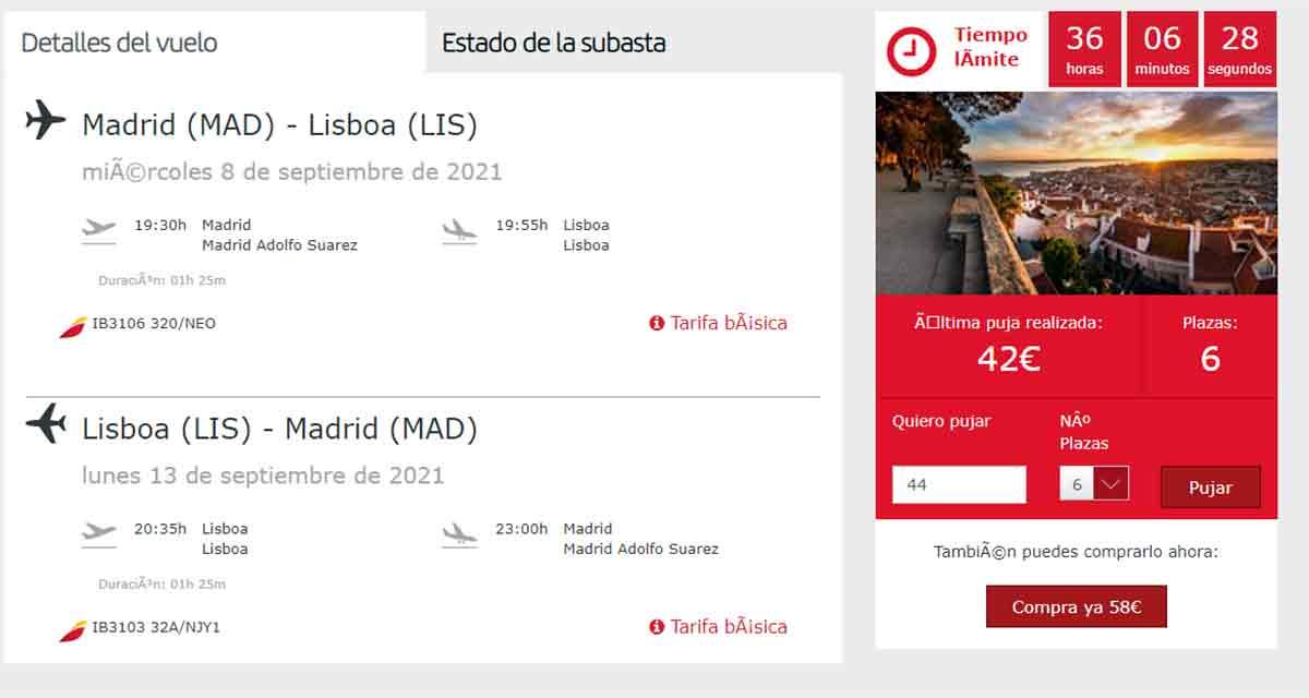 Detalles de la subasta de billetes de avión de Iberia