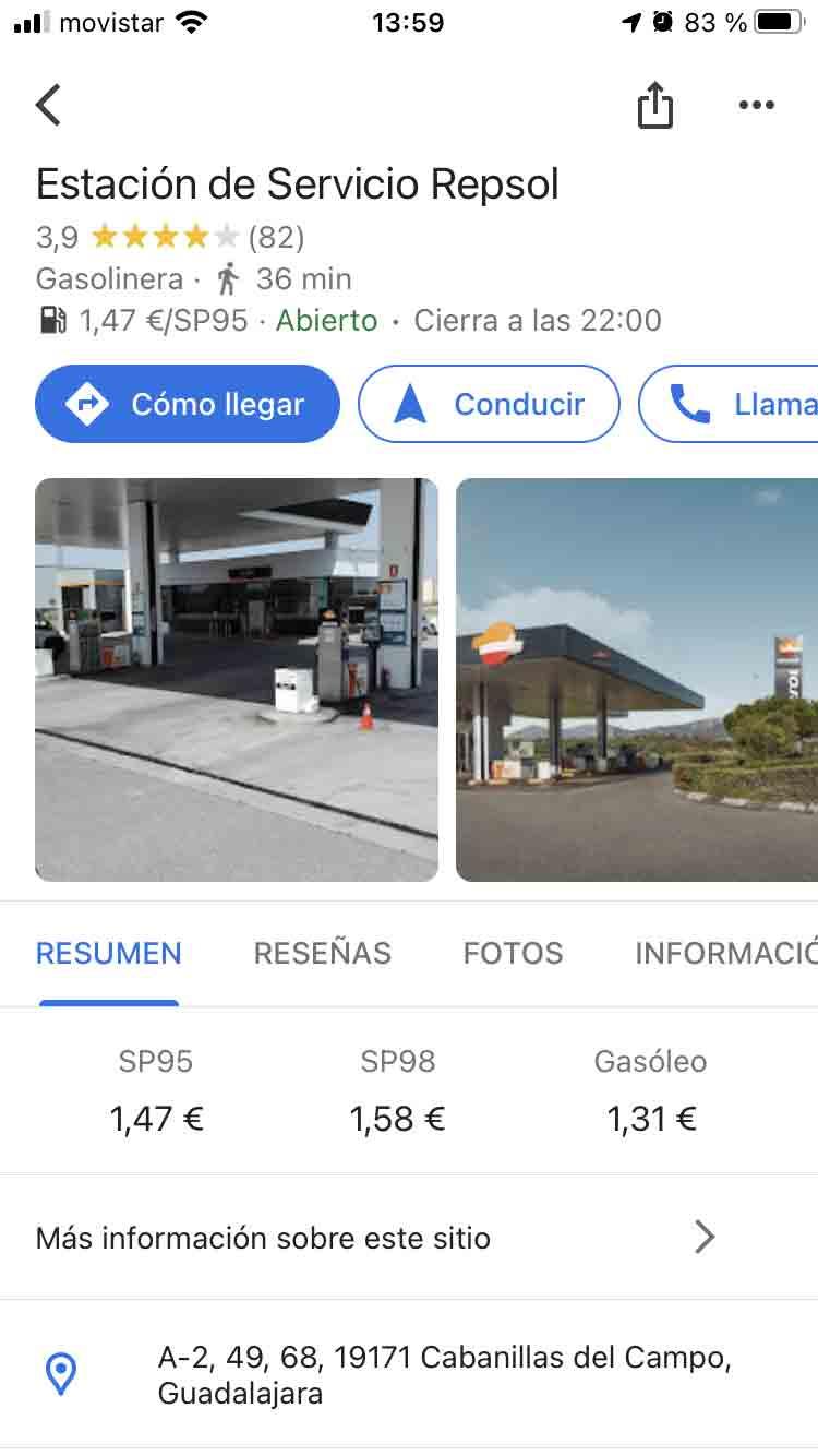 Precios de los distintos carburantes
