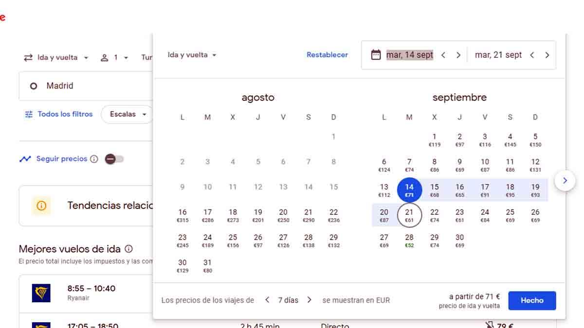 Selección de fechas de vuelo en Google Flights