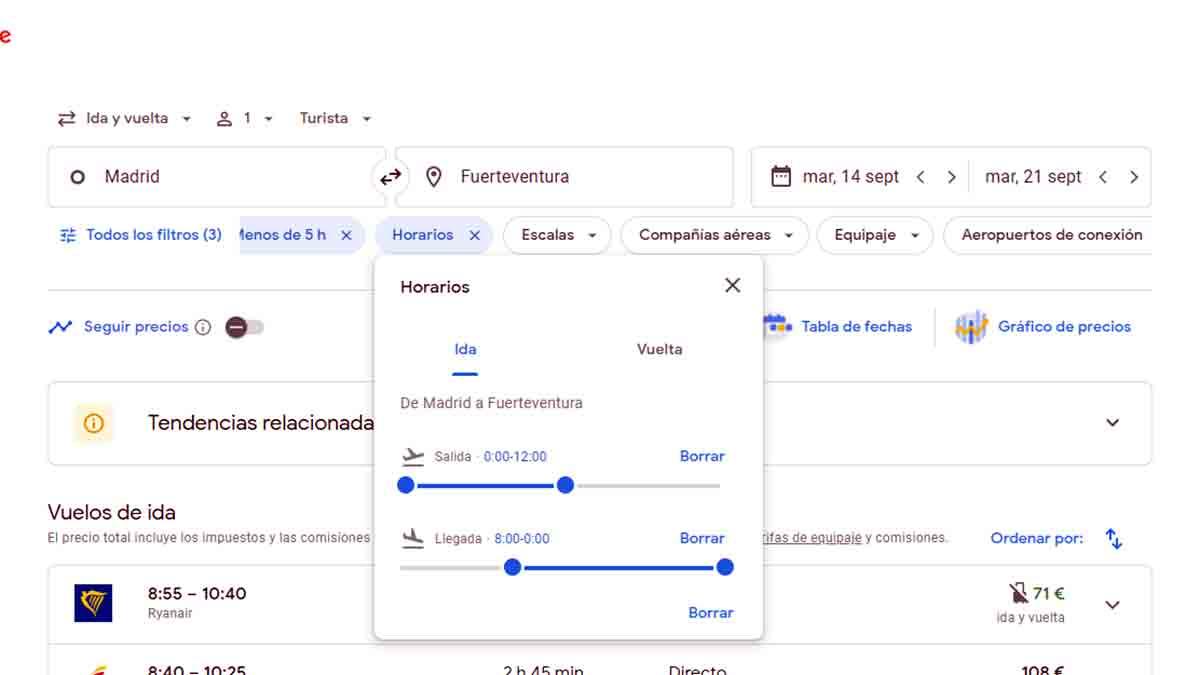 Filtrar los horarios de vuelo en Google Flights