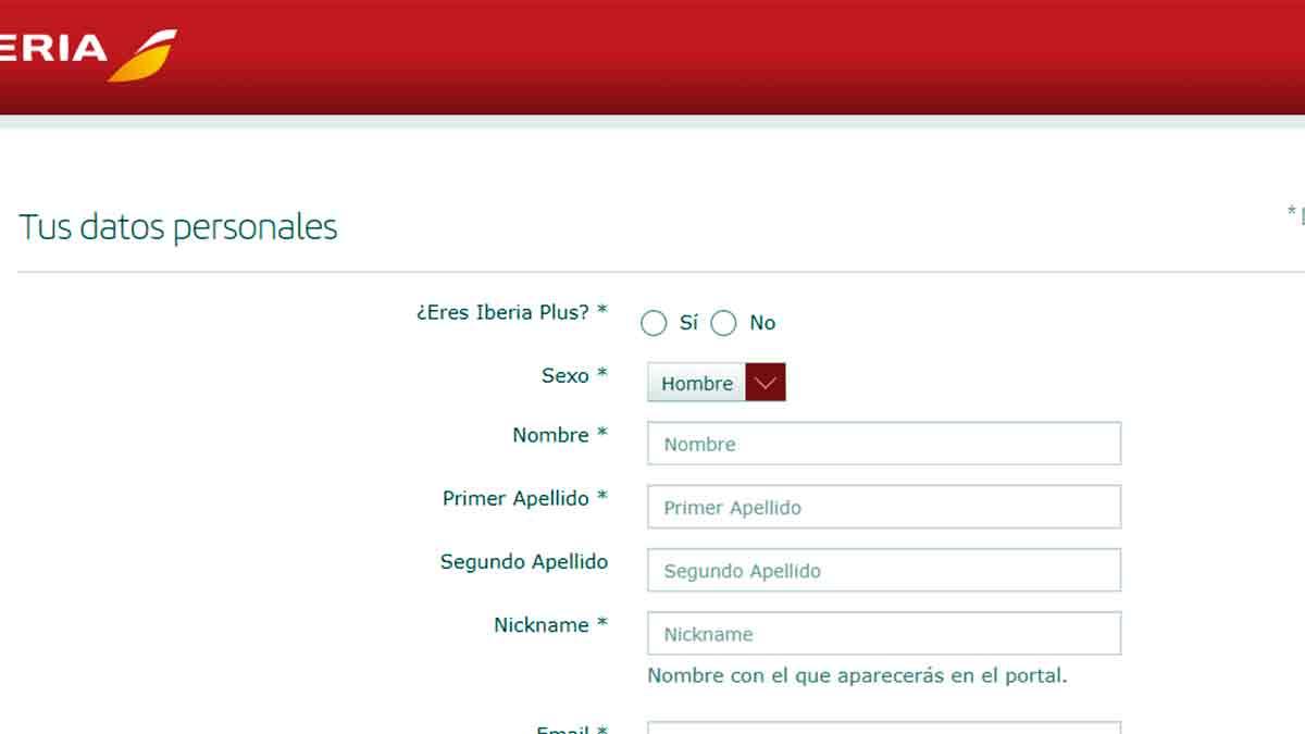 Completar formulario de registro de Iberia