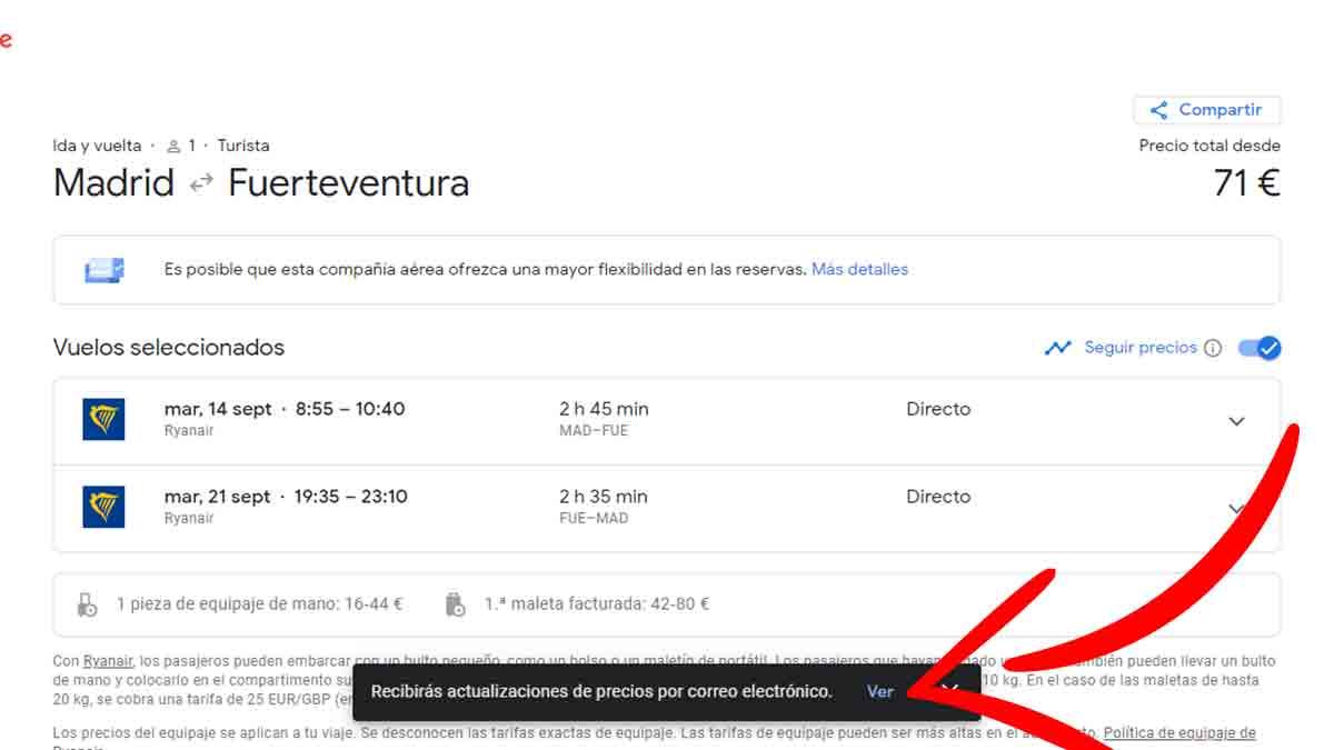 Mirar el historial de precios en Google Flights