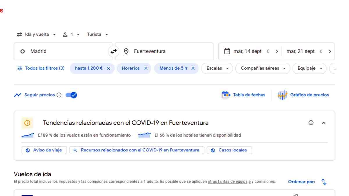 Información de interés en Google Flights