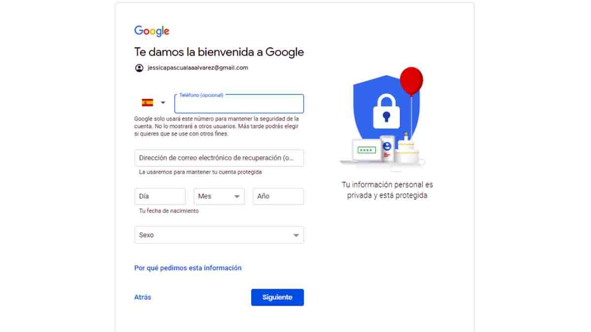 Introducir datos personales Gmail