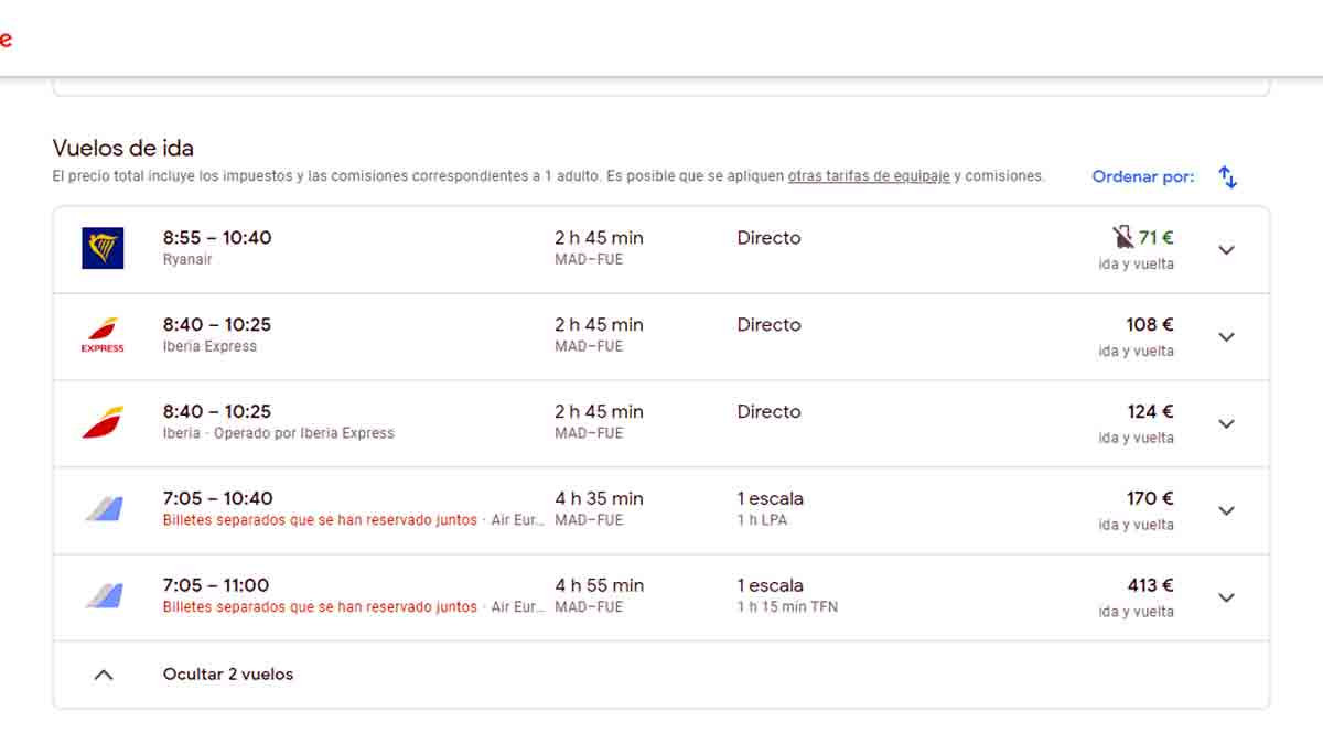Listado de ofertas y vuelos en Google Flights