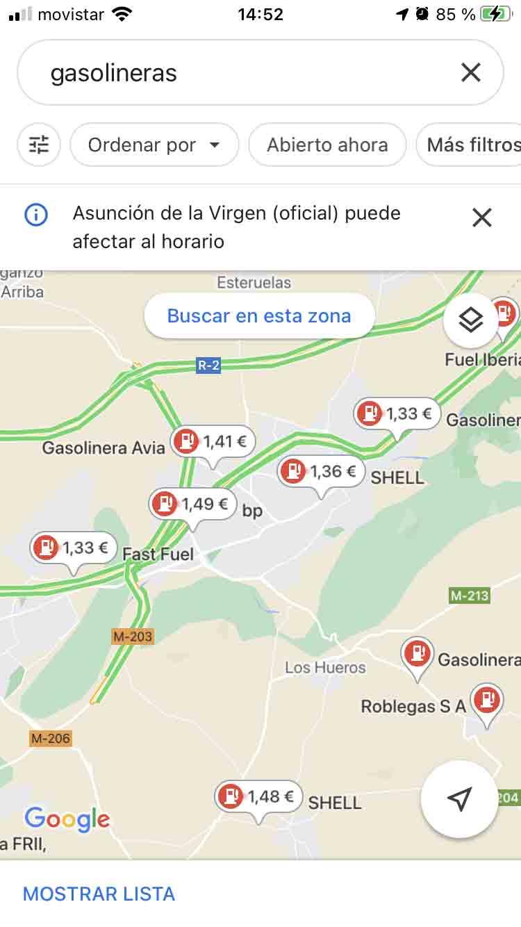 Estaciones de servicio en Google Maps