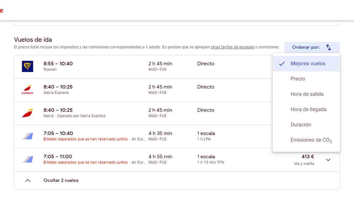 Lista de orden de vuelos en en Google Flights