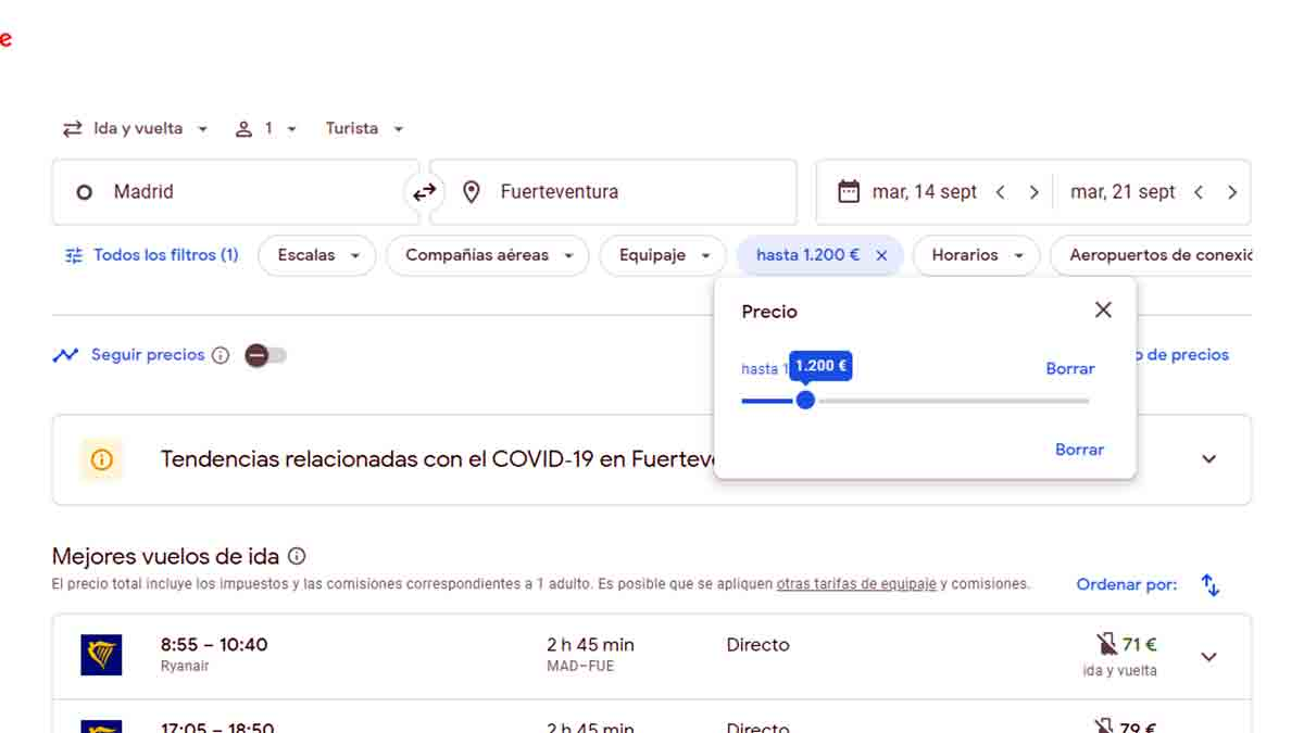 Selección de precio en Google Flights