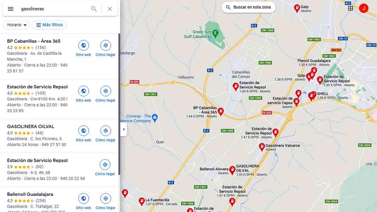 Precios gasolina versión escritorio Google Maps