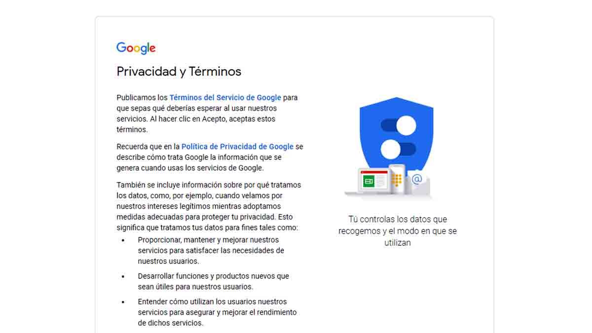 Política de privacidad google