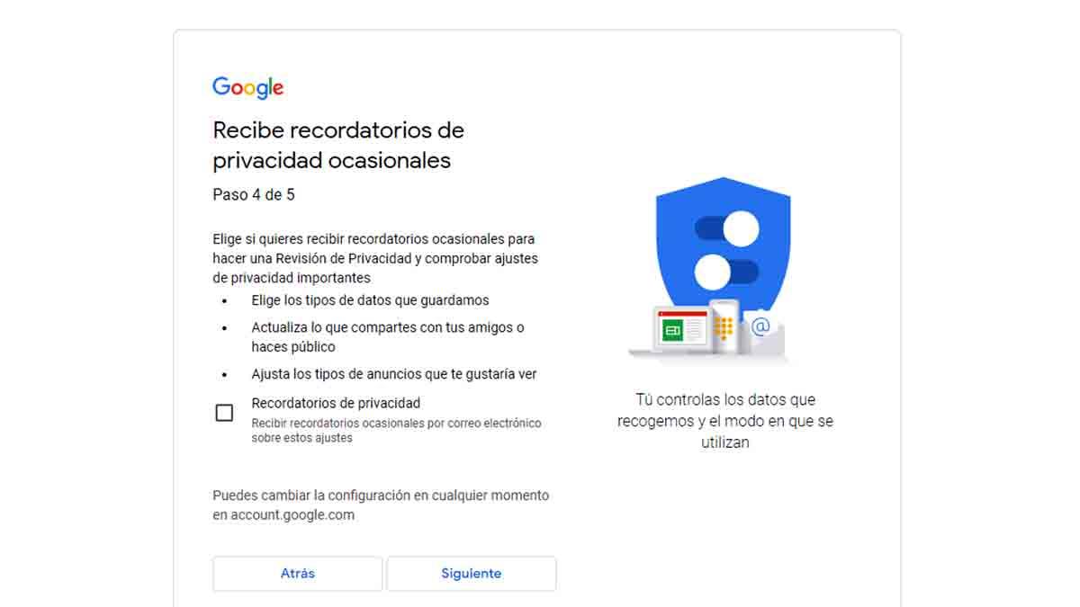 Recordatorios de privacidad Gmail