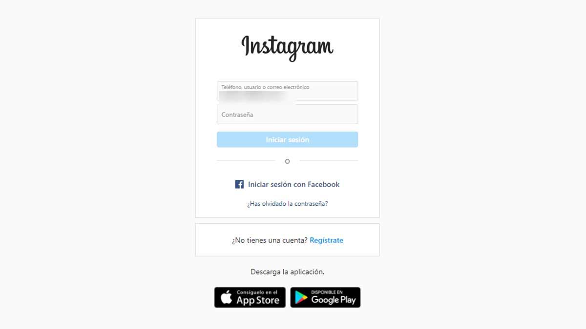 Olvidar contraseña Instagram