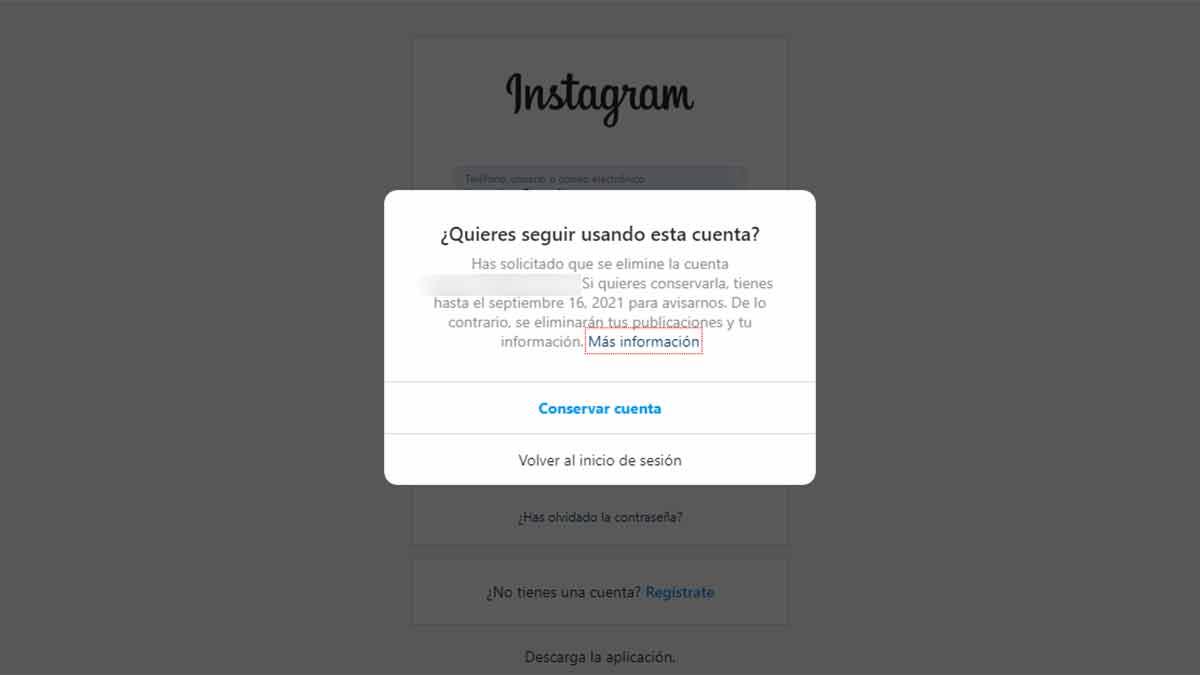 Recuperar la cuenta de Instagram