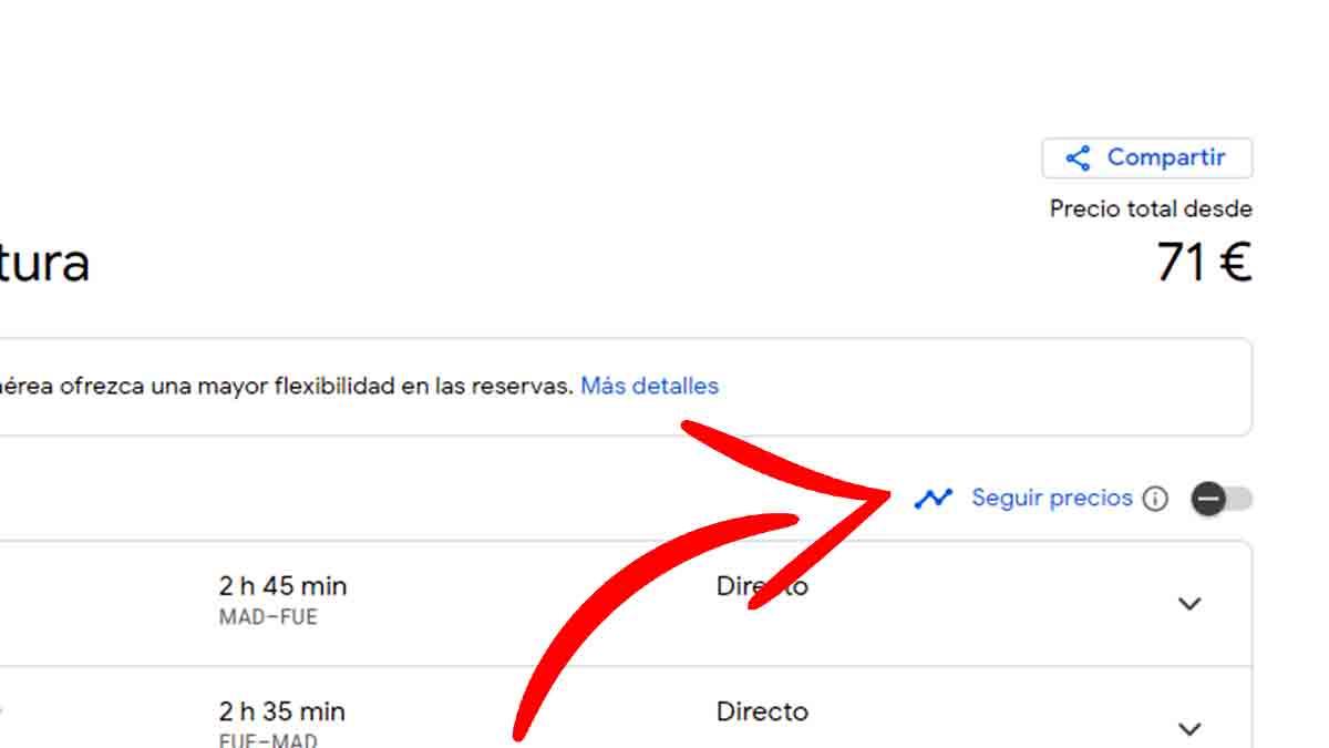 Hacer seguimiento de vuelo en Google Flights