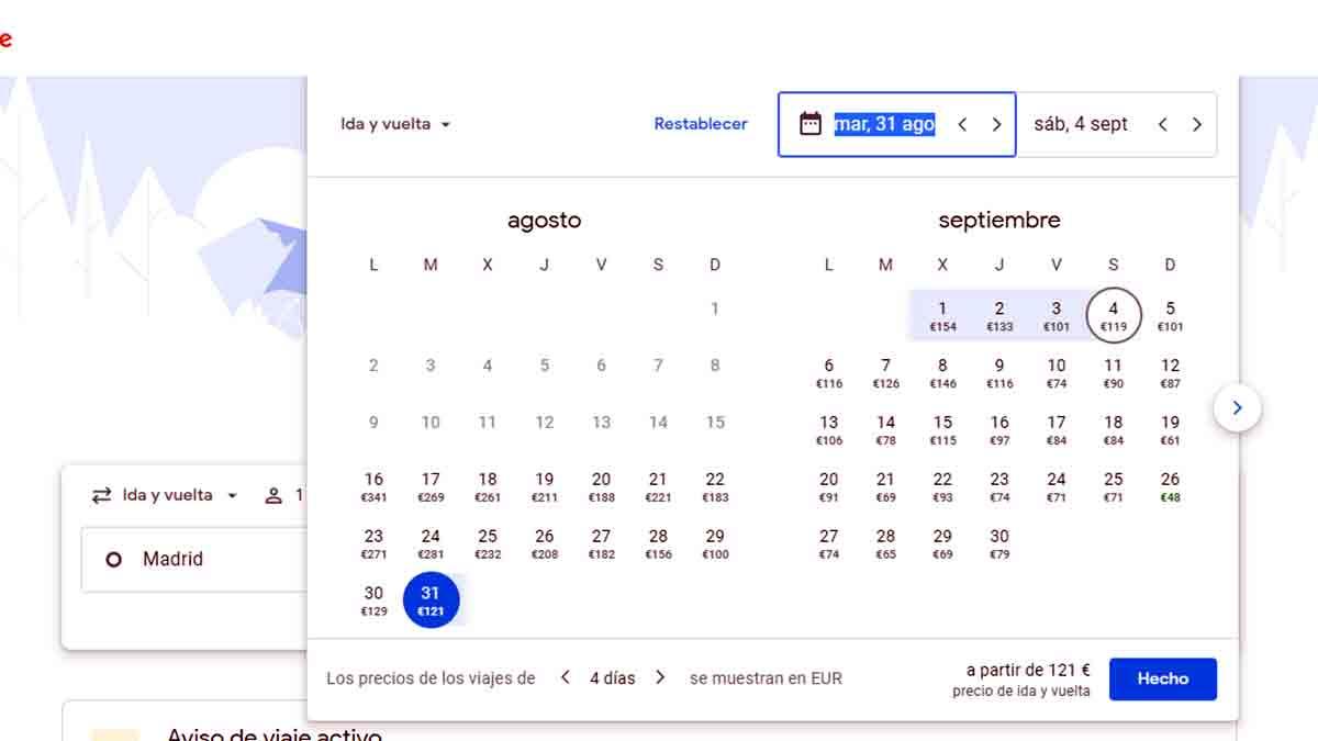 Fechas vuelo en Google Flights