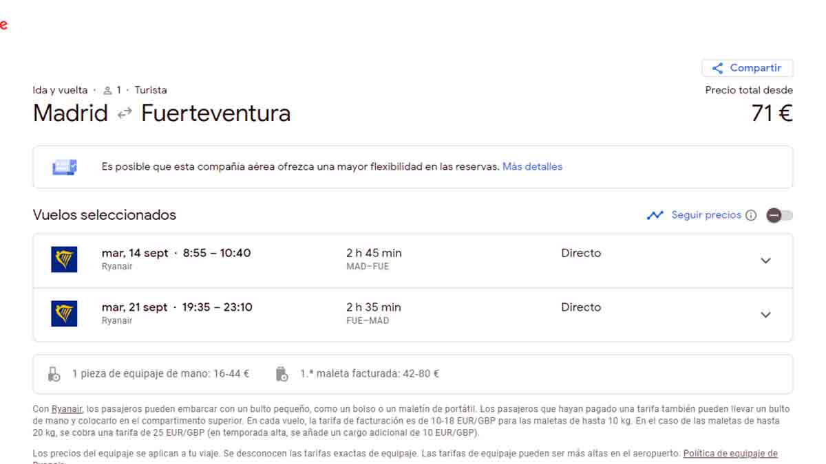 Seleccionar la vuelta de un vuelo en Google Flights