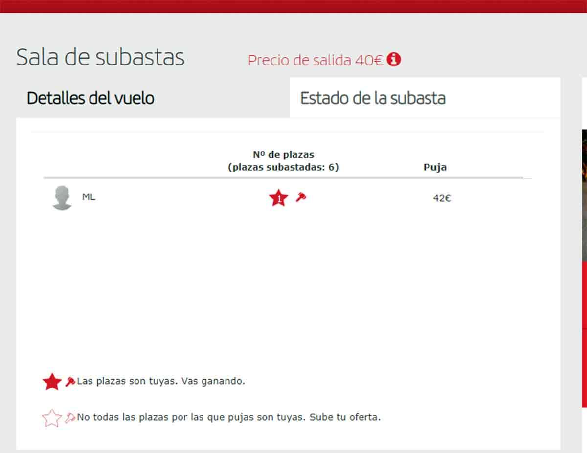 Pujar en las subastas de billetes de Iberia