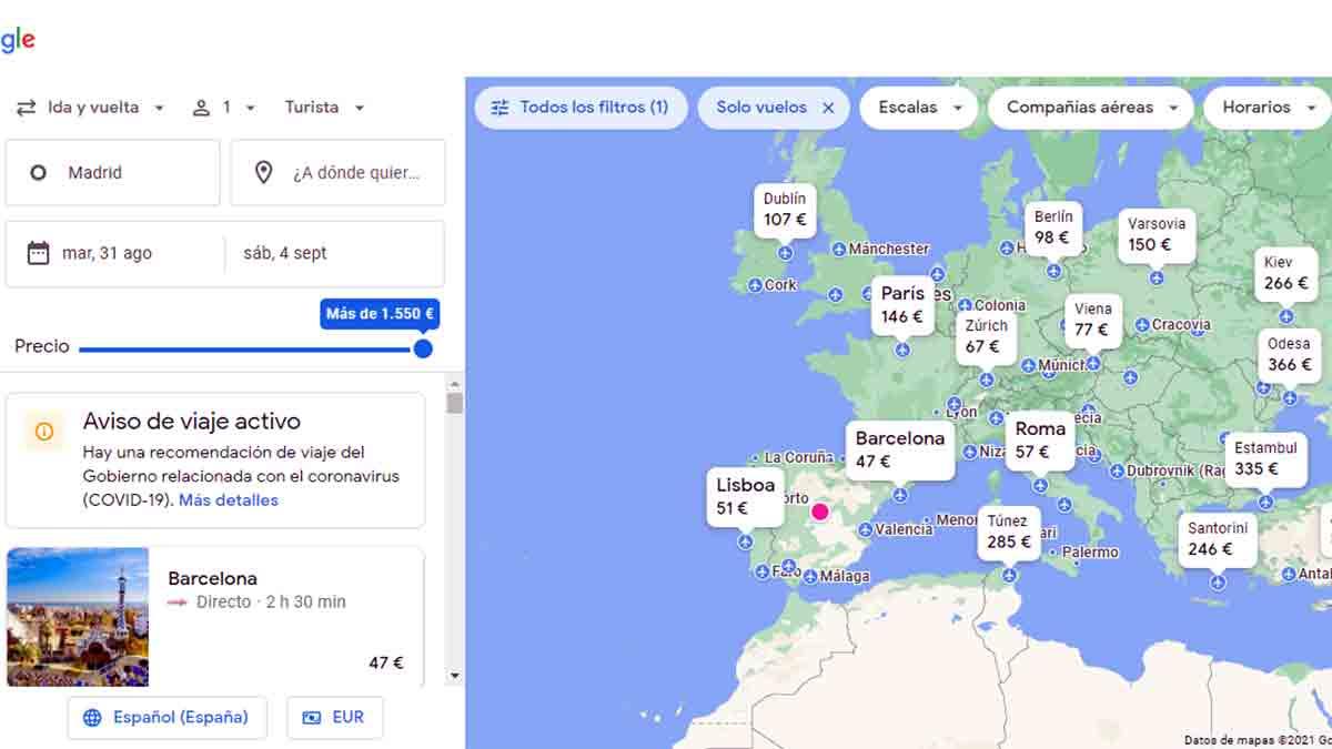 Viajar sin destino en Google Flights