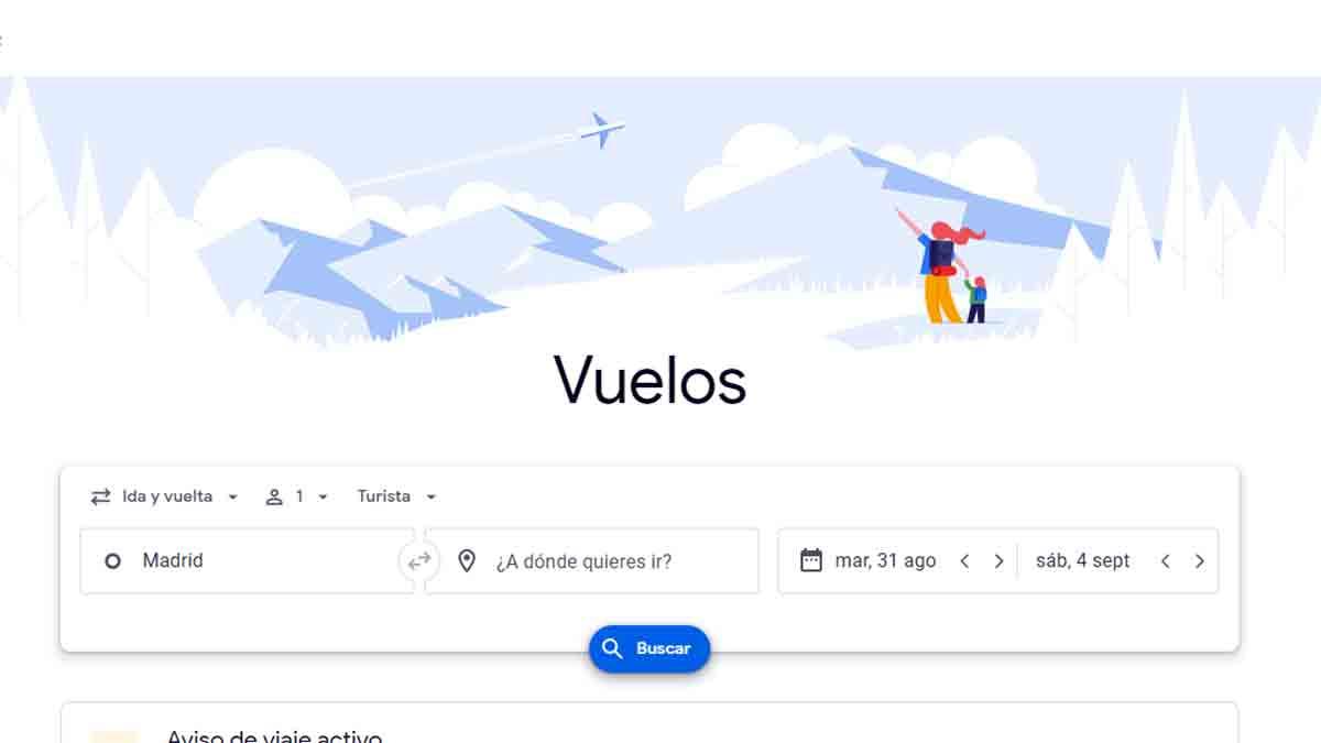 Página de inicio de Google Flights