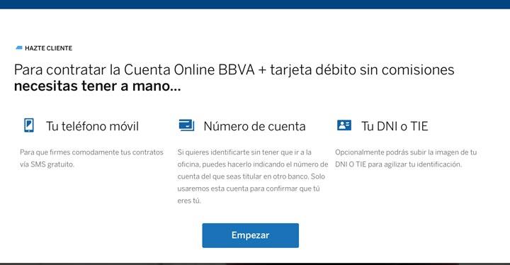 Abrir una cuenta bancaria en la web de BBVA