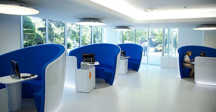 Oficina de la sucursal bancaria de BBVA