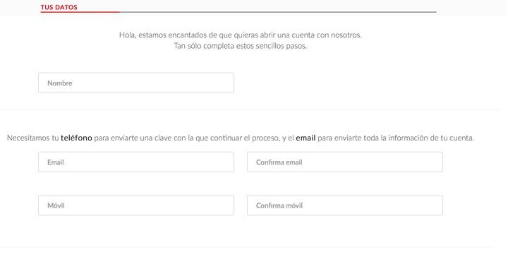 Introducir datos personales para abrir una cuenta en el Banco Santander