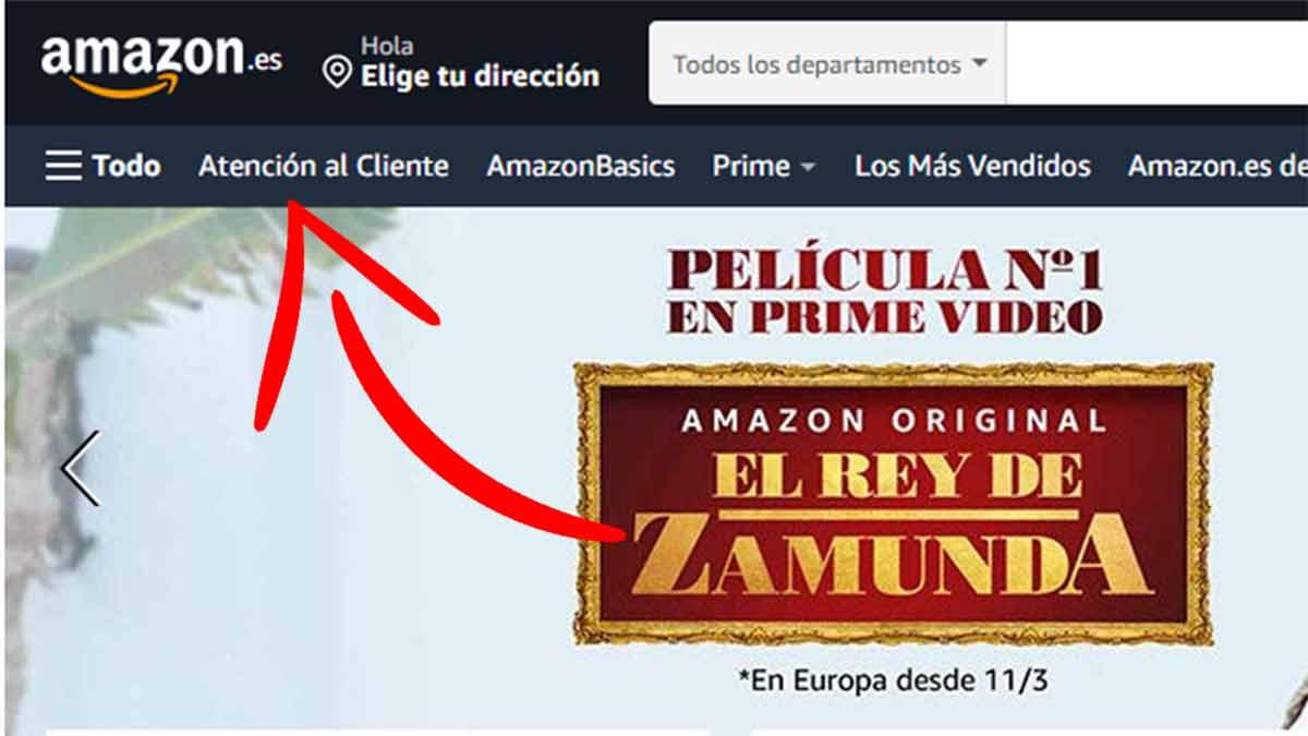 Acceso desde la web al contacto con Amazon