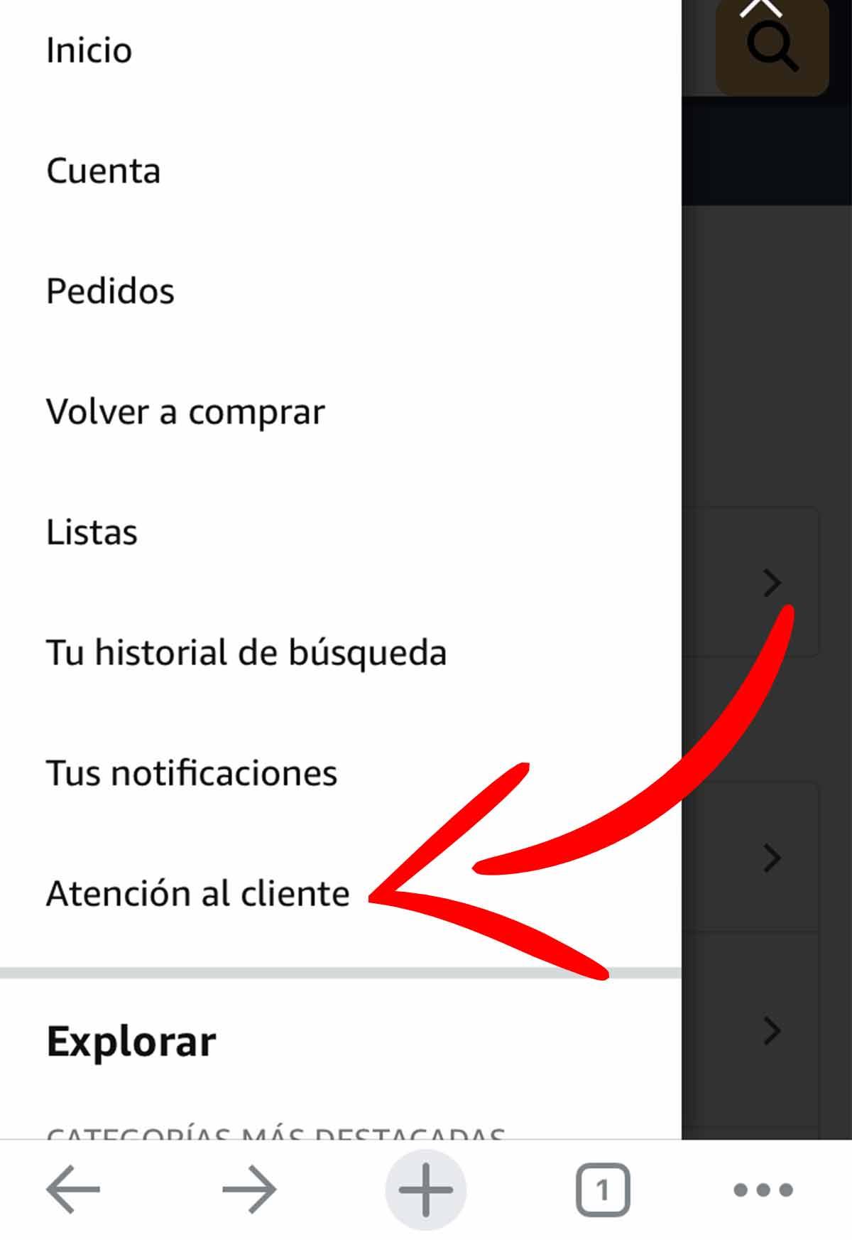 Acceso al servicio de atención al cliente de Amazon en el móvil