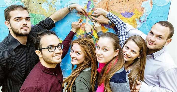 Estudiantes universitarios Erasmus.